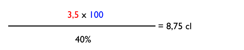 3,5 volymprocent*100cl/40%=8,75cl starksprit