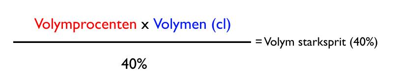 Volymprocenten * Volymen (cl) / % sprit i starksprit